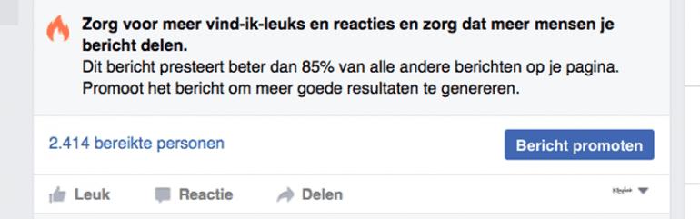 Bericht promoten op Facebook