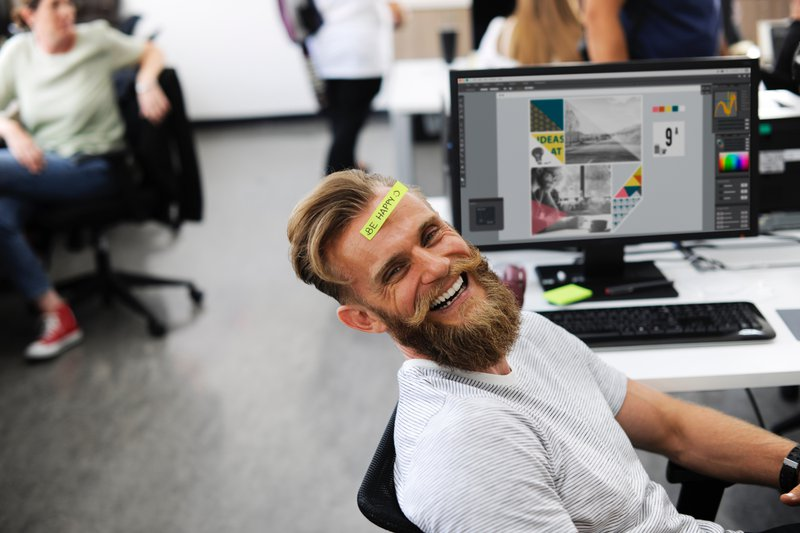goofy coworker slacking off during video meetings