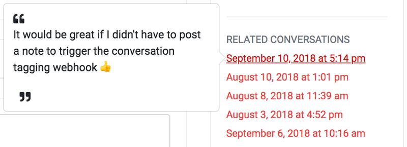 Userfeed conversation linking via Intercom (product feedback)