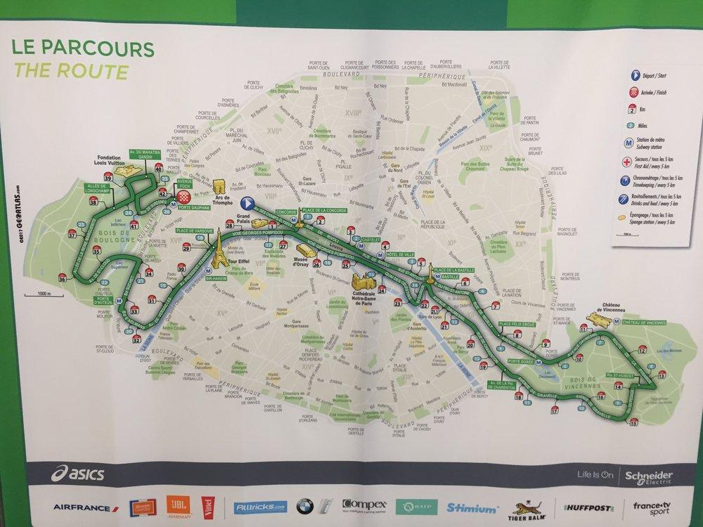 Parcours marathon van Parijs