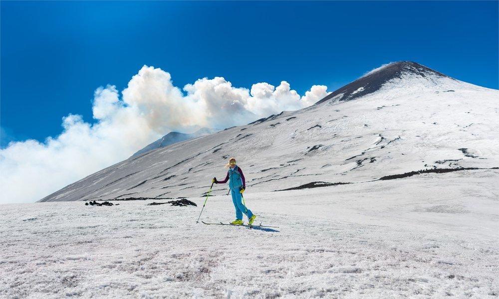 Skiën op de flanken van een vulkaan