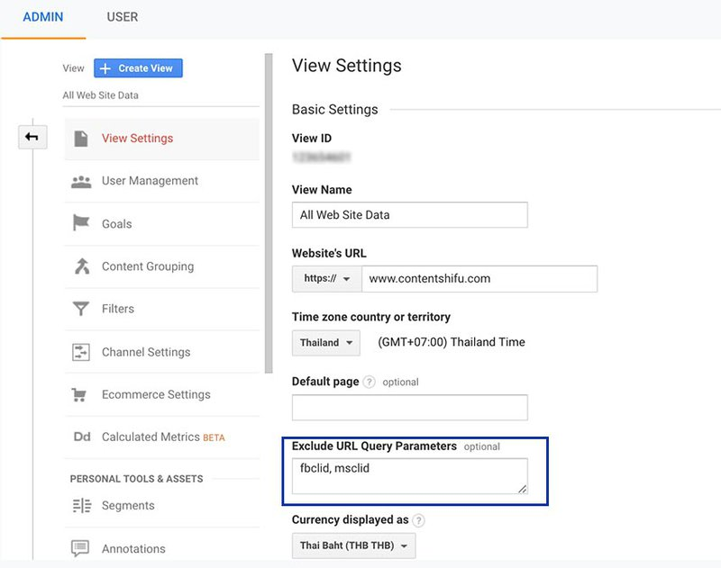 google analytics view setting remove fbclid