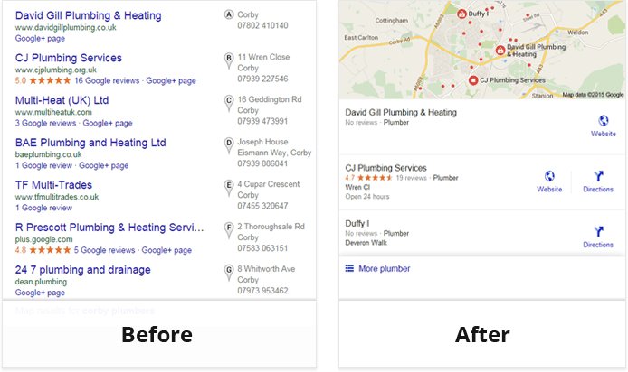 Google local pack old and new
