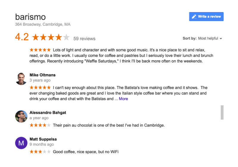Google local pack reviews