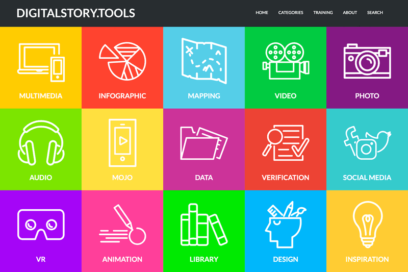 picture of the website. A lot of flashy colours, which distinct the different tools from each other.