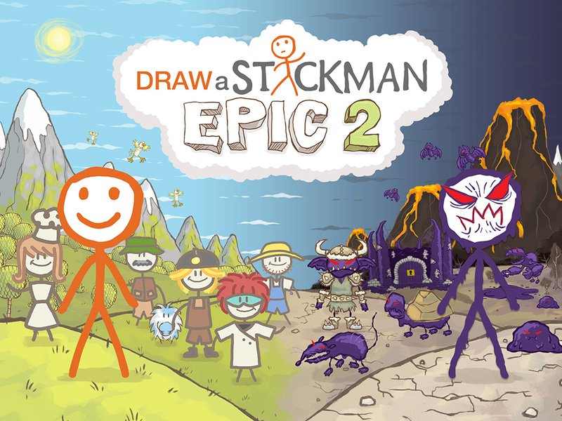 A great variety of stickmen. The stickmen on the left are good, while the stickmen on the right are evil.