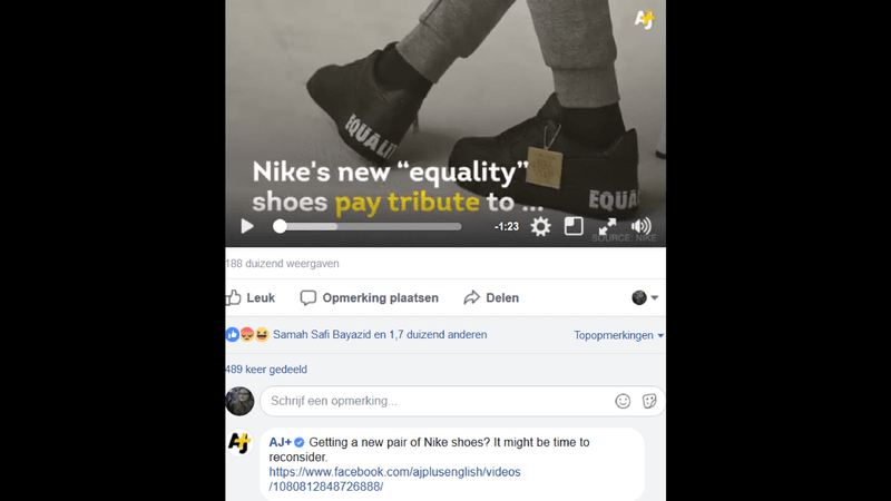 visual showing AJ+ commenting on their own video first.