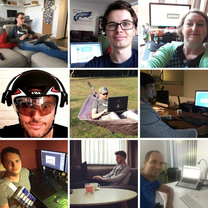 A collage of our team members teleworking