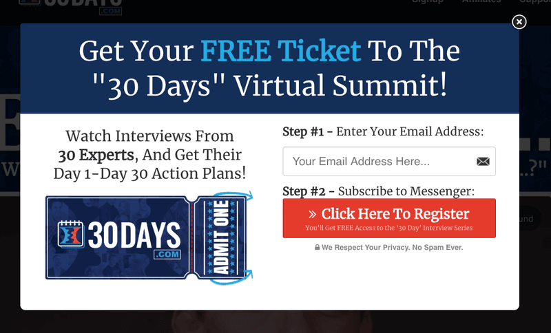 This is 30days.com optin popup window on clickfunnels