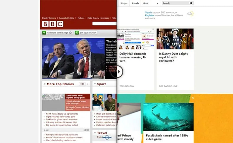 10 Year Challenge in web design - BBC