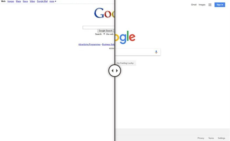10 Year Challenge in web design - Google