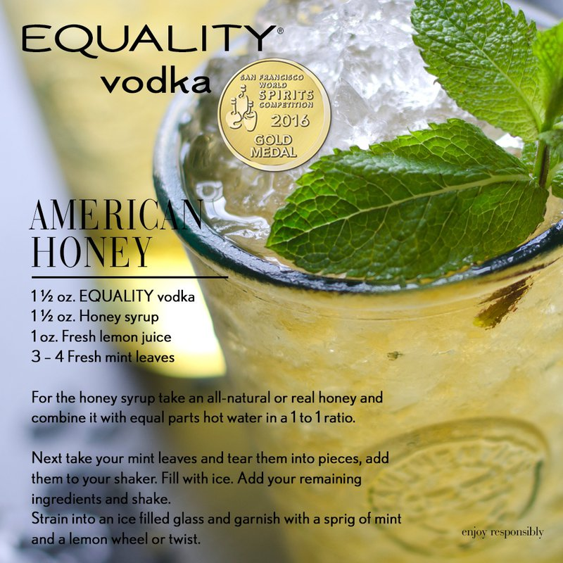 Equality Vodka Ultra Premium Vodka American Honey