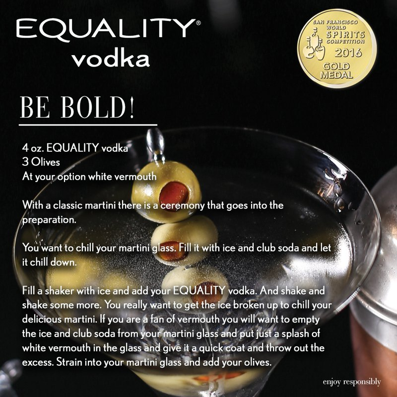 Equality Vodka Ultra Premium Vodka Be Bold