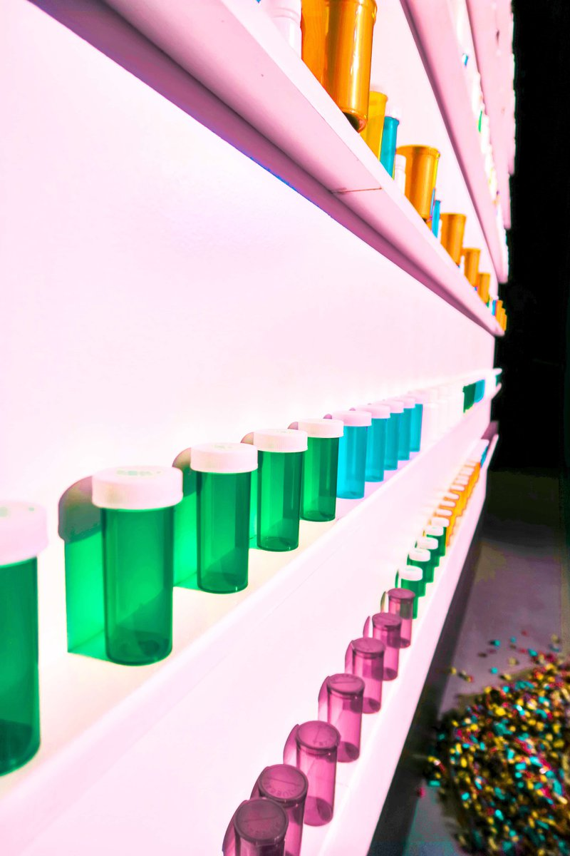Coloured pill bottles