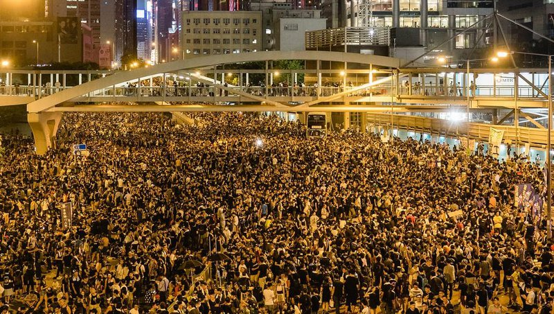 Hong Kong Streets are cordoned as protesters occupy the Central district