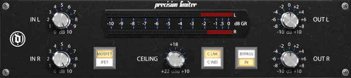 The Distopik Precision Series Brickwall Limiter's graphical user interface.