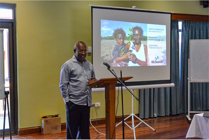 Deputy Provincial Administrator, Masayan Moat, at the PNG Biomass project update meeting.