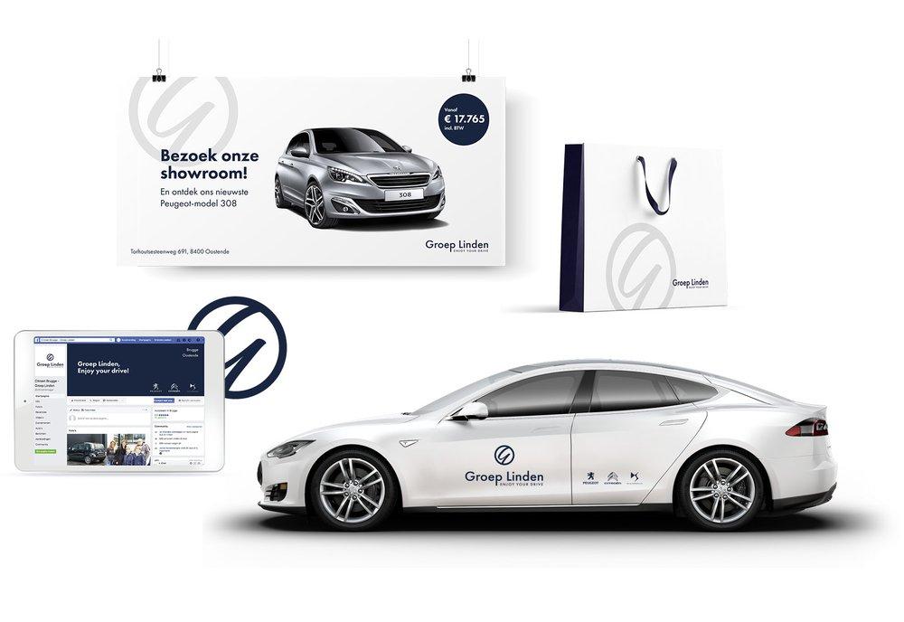 corporate branding, Groep Linden, huisstijl, logo, grafisch ontwerp, archetype branding, automotive, Easybranding, Kortrijk