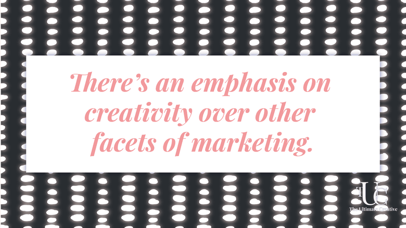 What does it mean to be a creative marketing agency? There's an emphasis on creativity over other facets of marketing. Quote text over dotted pattern.