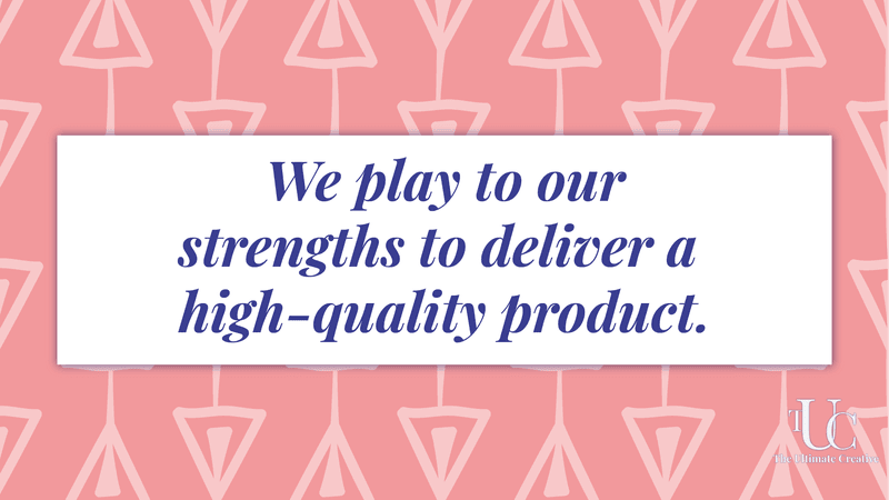 What does it mean to be a creative marketing agency? We play to our strengths to deliver a high-quality product. Quote text over pink triangle pattern.