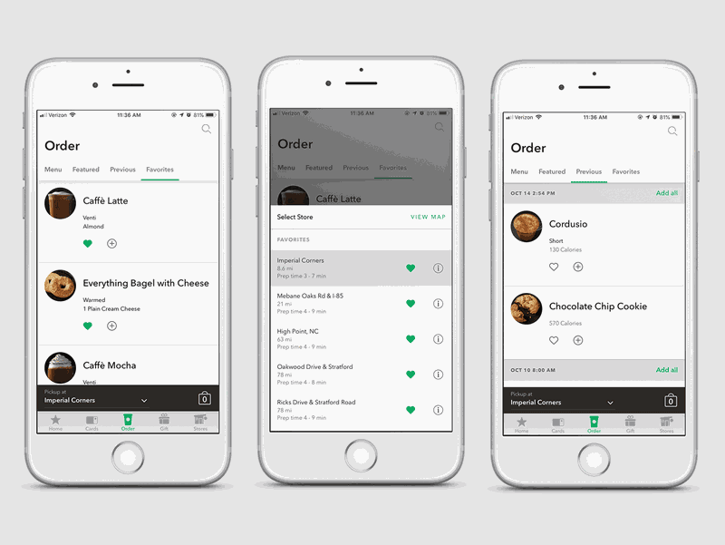3 smartphone screens with Starbucks mobile app for online ordering