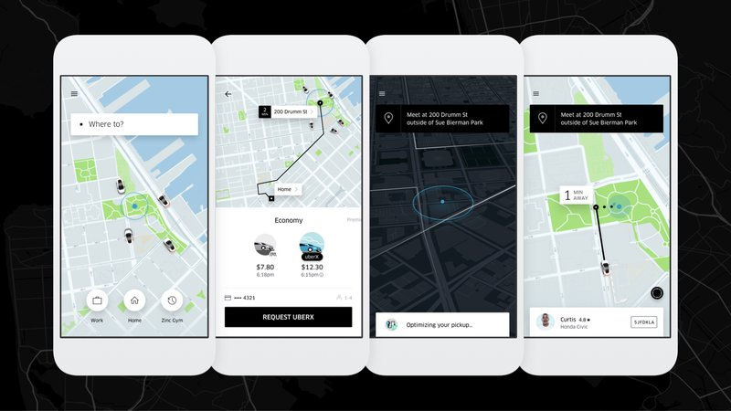 uber interface linear navigation