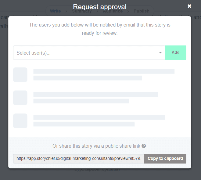Pic of Story Chief Approval request tool