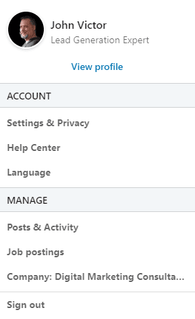 Pic of settings and privacy on LinkedIn