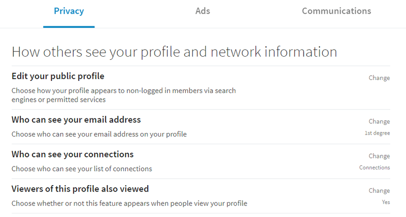 Pic of the privacy section on LinkedIn