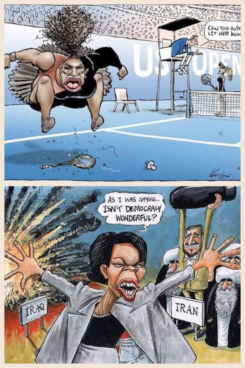Which cartoon caricature is racist and sexist - Serena Williams or Condoleeza Rice?