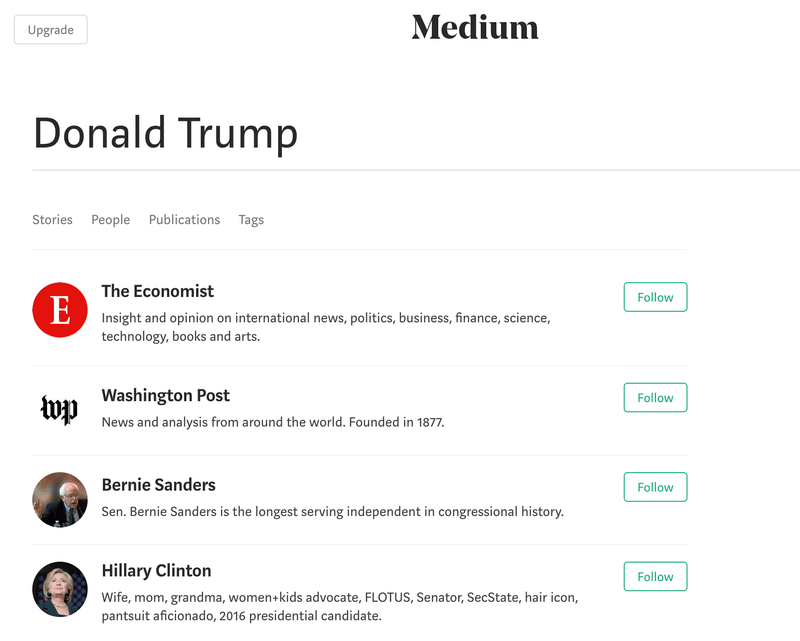 "Type ""Trump"" as keyword, left-wingers are the search results on Medium.com"