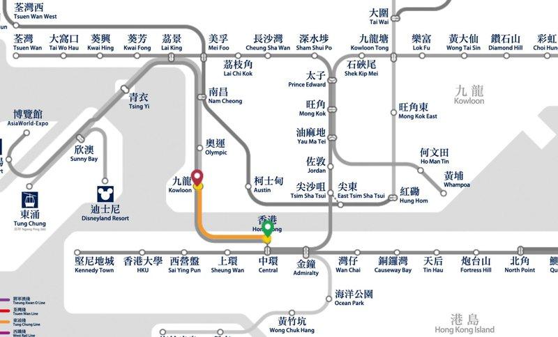 hong kong to kowloon mtr map