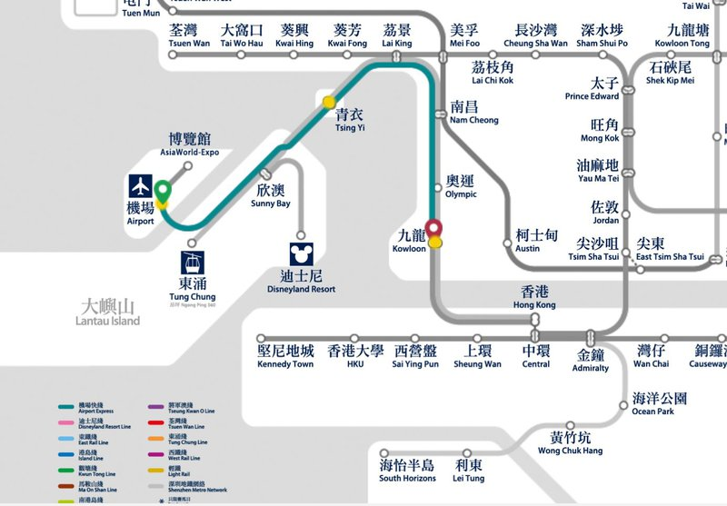 airport to kowloon mtr map