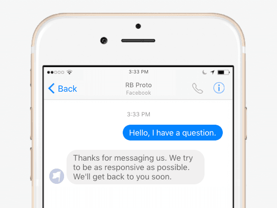 What do Facebook Instant Replies look like?