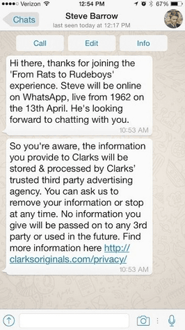 Clarks Rats to Rudeboys WhatsApp Campaign Onboarding Message