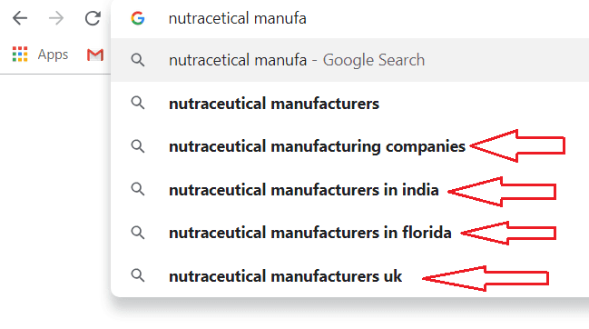 nutraceutical manufacturing website - google autosuggest