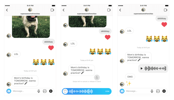 voice messaging in Instagram direct messaging