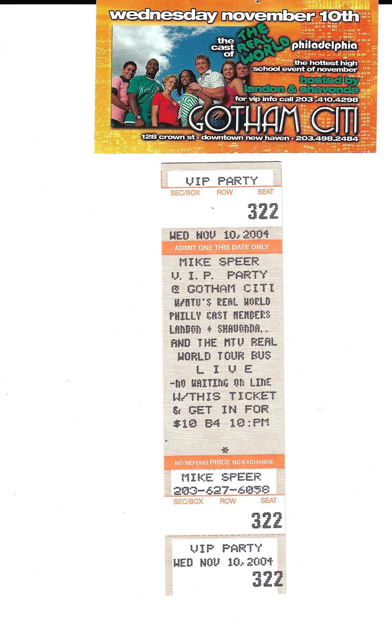 nightclub ticket