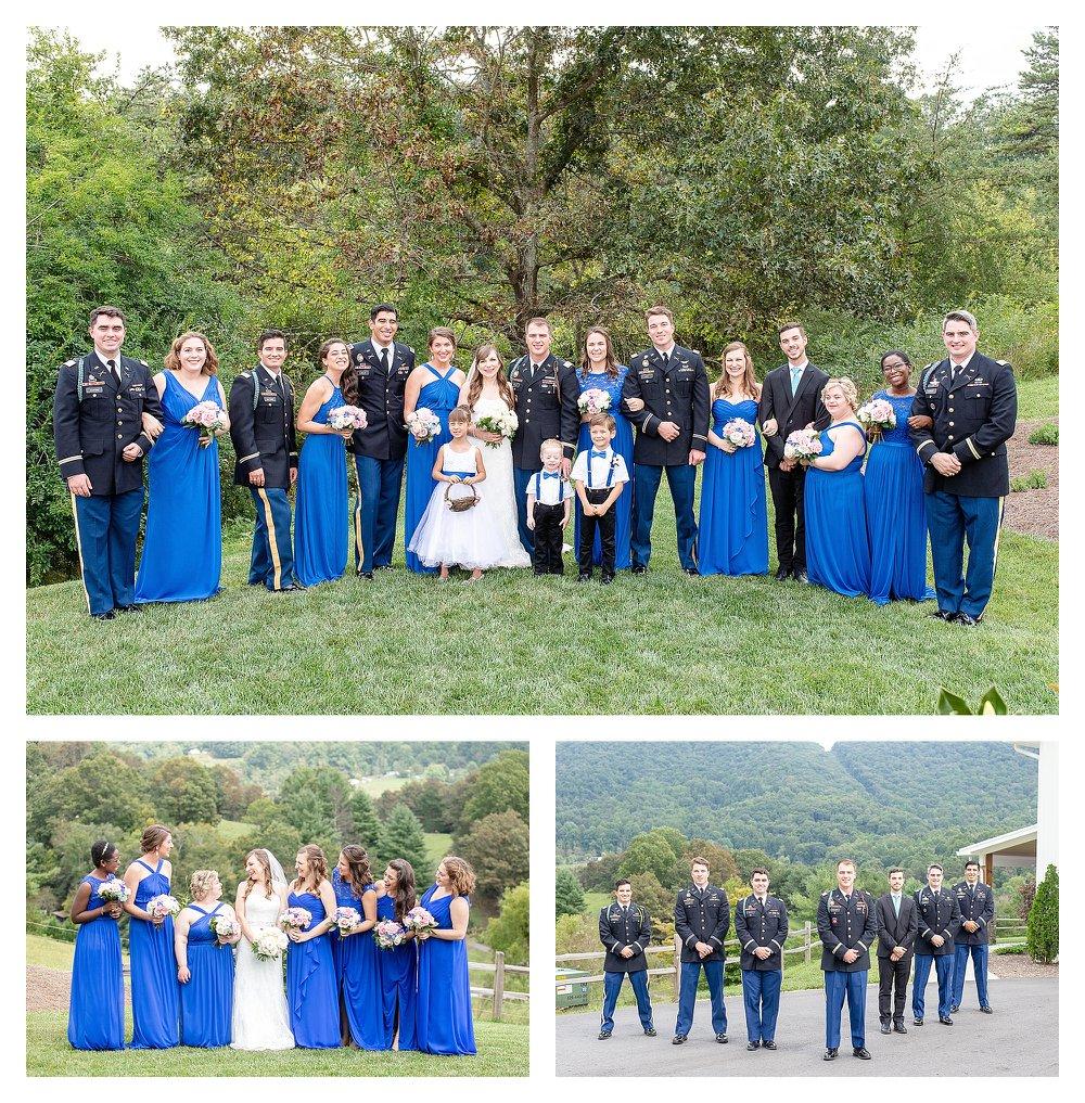 Bridal party, military wedding