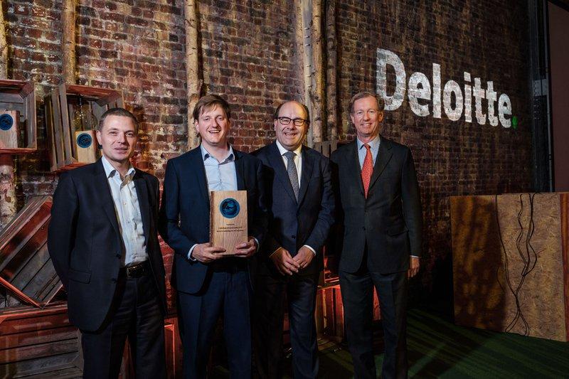 Guido Vandervorst (Innovation Leader Deloitte), Nikolaas Tahon (Technology Fast 50 Leader), Jeroen De Wit (CEO Teamleader), Duco Sickinghe (juryvoorzitter – CEO Fortino Capital)