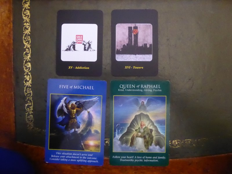 Banksy and Angel Tarot Cards used in Mediumship Session