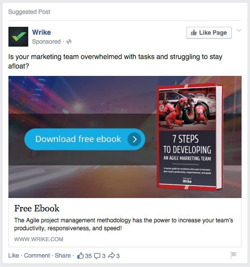 Example of a Call To Action where a company offers a free ebook for download