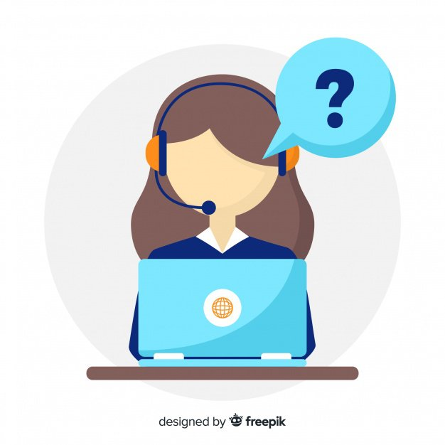 An illustration of a sales rep behind a laptop asking questions through a headset