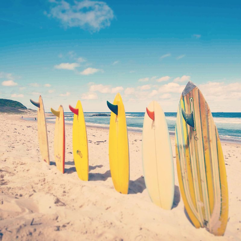 surfboards stuck in the sand