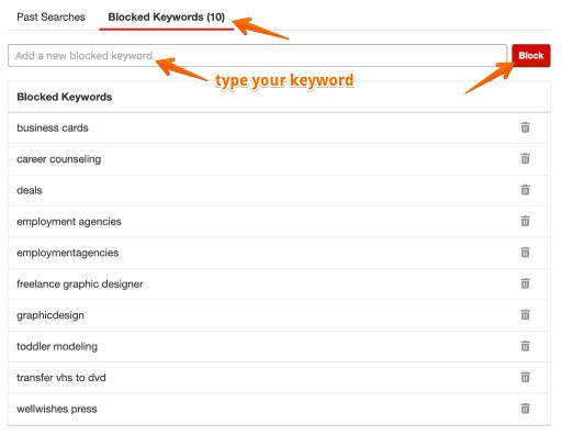 Yelp Ads Blocked Keywords Tab