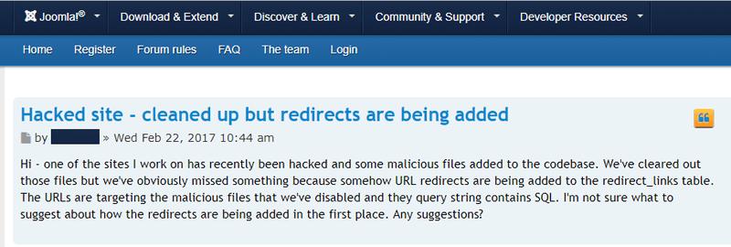 Joomla spam redirects