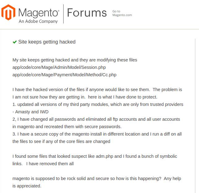 Magento admin hack example