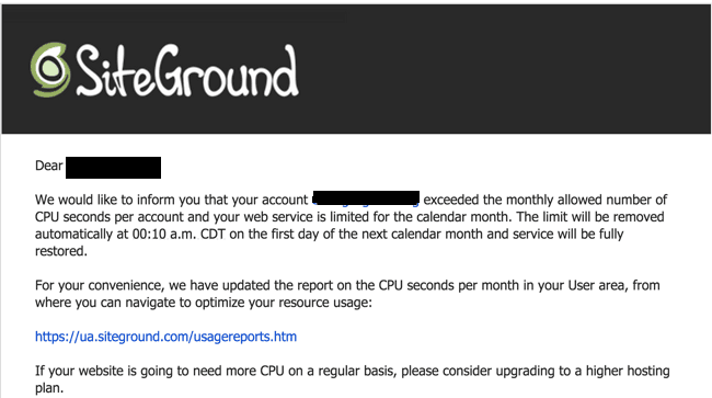 WordPress account suspended by SiteGround