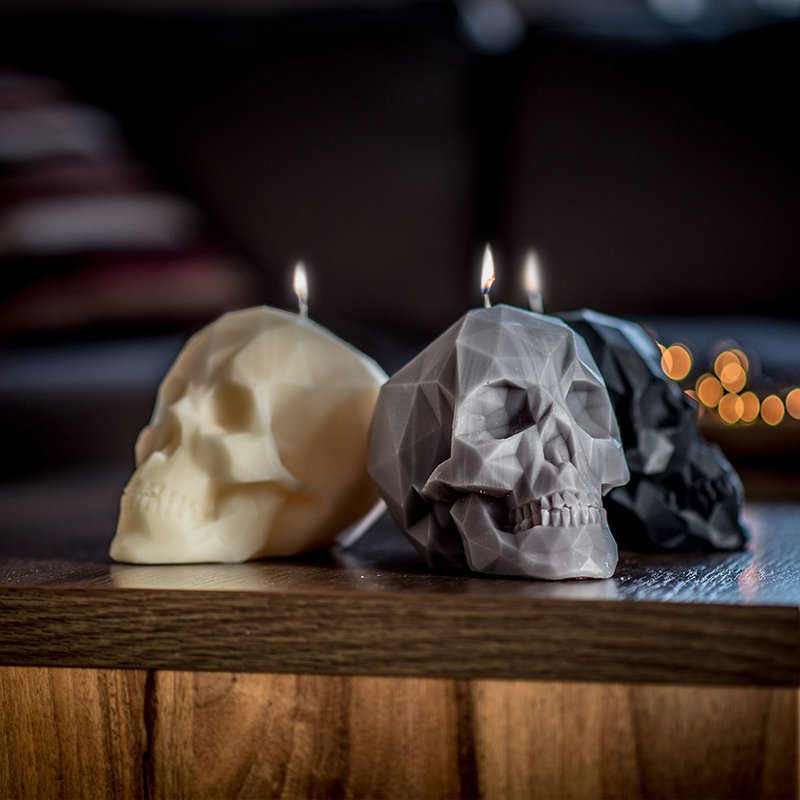 Candles Skull Shaped Minimalistic in Gray, White and Black